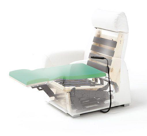 Dettaglio poltrona relax Zucchetti con seduta in memory foam