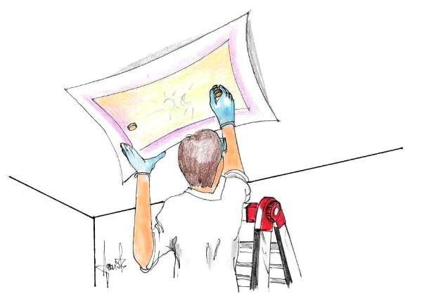 Plafoniera Tessuto Elasticizzato : Come installare una plafoniera