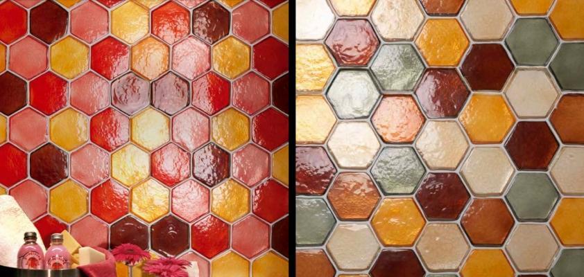 Mattoni di vetro esagonali Vetroattivo di Poesia