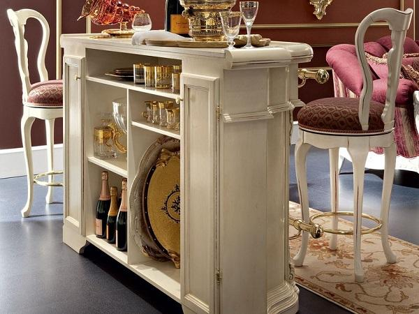 Bar counter with a baroque flavor, by Modenese Gastone