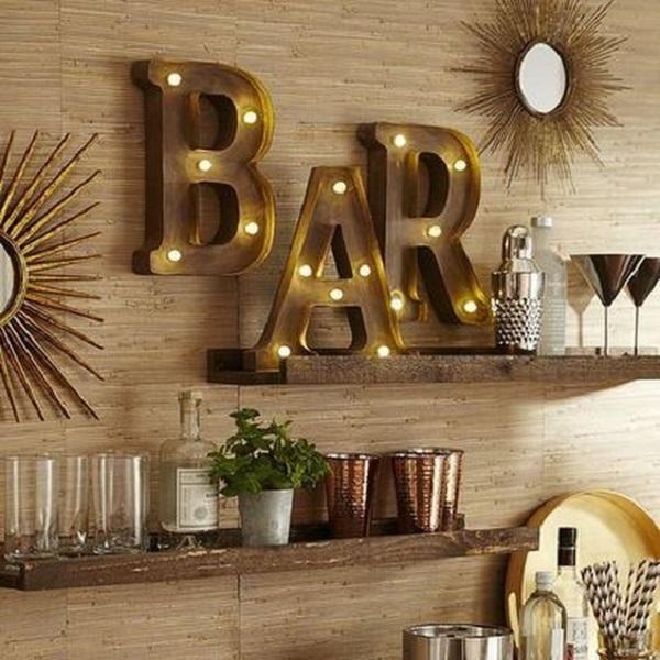 Bar corner lettering, from trendecors.com