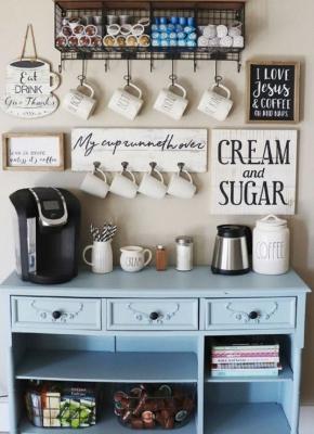 Ricreare angolo caffè su un mobile ad hoc, da kitchendecorpad.com