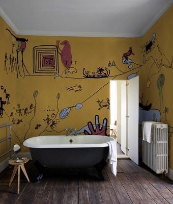 Carta da parati per bagno con disegni, da Wall&decò