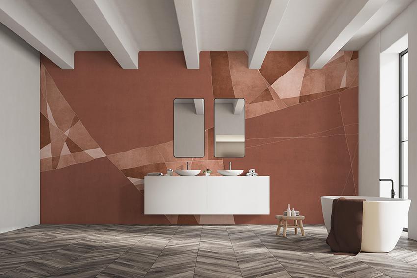 Carta da parati in bagno, modello Copper Stone by Ambientha