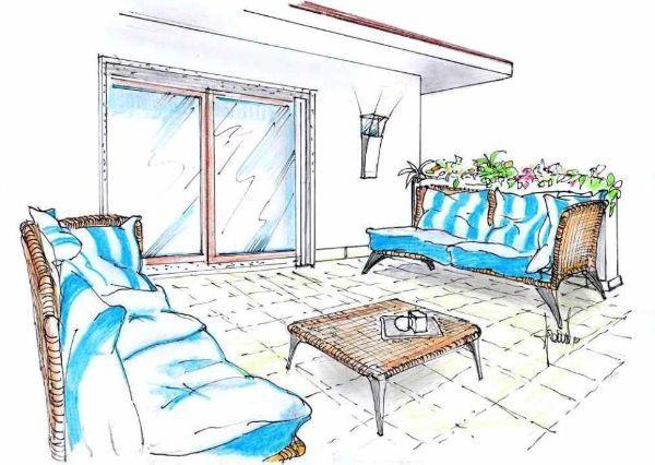Salotto da terrazzo in rattan e tessuto bianco e azzurro