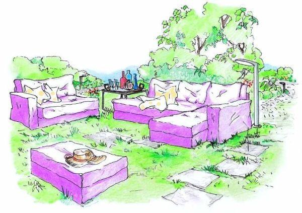 Salotto in giardino: soluzione progettuale