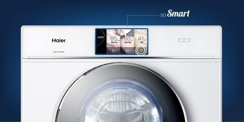 Dettaglio della lavatrice a doppio cestello Duo di Haier