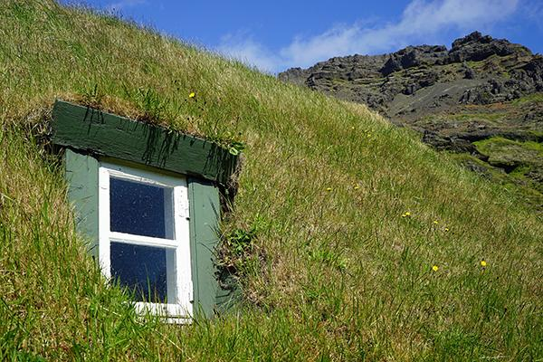 Il tetto verde di una casa tradizionale islandese