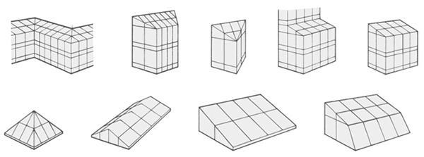 Forme geometriche ottenibili con i sistemi per facciate continue di Metra