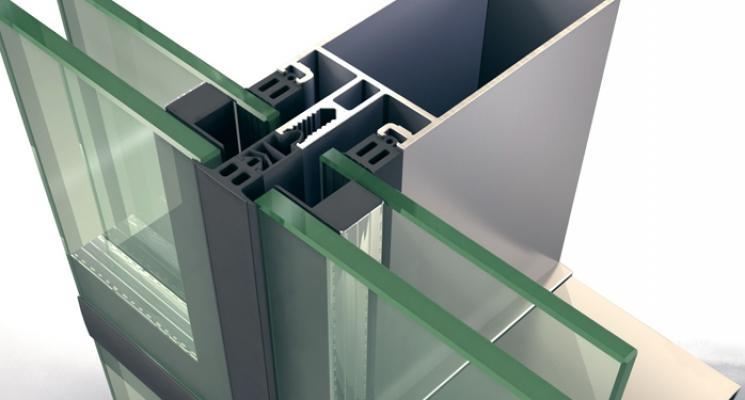 Sistema per facciate continue semistrutturali poliedra-sky 50 cv di metra