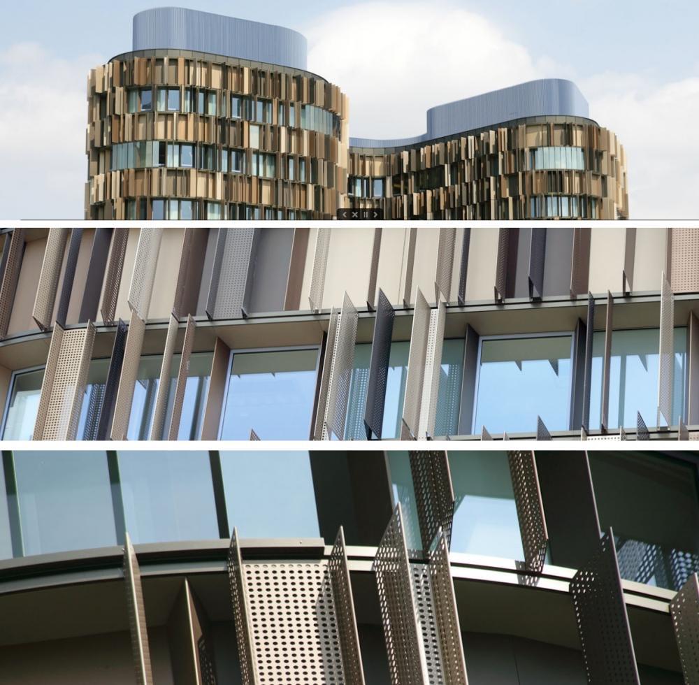 Facciate in lamiera forata nell'edificio Milanofiori 2000 di Assago, by Gatti Precorvi Engineering