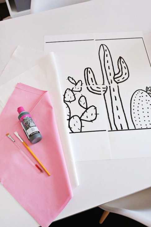 Cuscino con cactus, disegno, da bloglovin.com