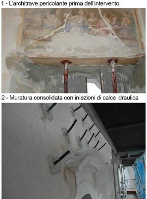 Fasi 1 e 2 del consolidamento di un architrave, by DZ Servizi Restauro