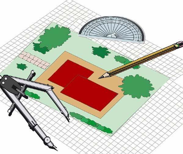 Disegno schematico per la progettazione del prato in giardino