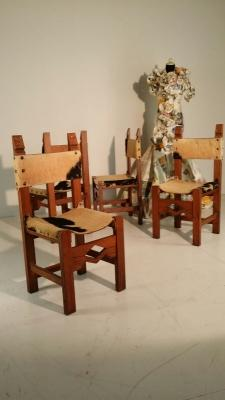 Sedie vintage in rovere e pelle di mucca di Archivio&Fortino