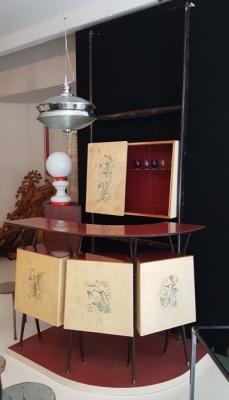 Mobile vintage bar in legno e pergamena di Archivio&Fortino