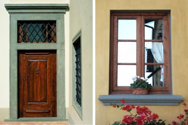 Cornici e davanzali di finestre in pietra serena, by Frosini Pietre