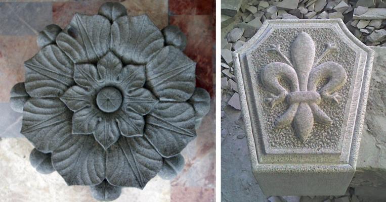 Stemmi e decorazioni in pietra serena di Frosini Pietre