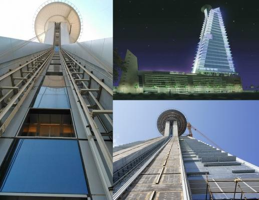 Ascensore inclinato di Maspero Elevatori in un grattacielo di Jeddah