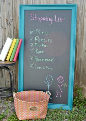 Riciclo creativo: lavagna con vecchia cornice, da h2obungalow.com