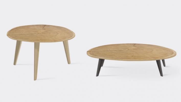 Tavolini con venature del tronco d'albero, da Henri Tujague