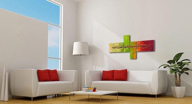 Quadro astratto per arredare un living minimal, da quadrixxl.it