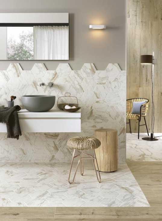 Piastrelle esagonali per un bagno raffinato, da Ragno