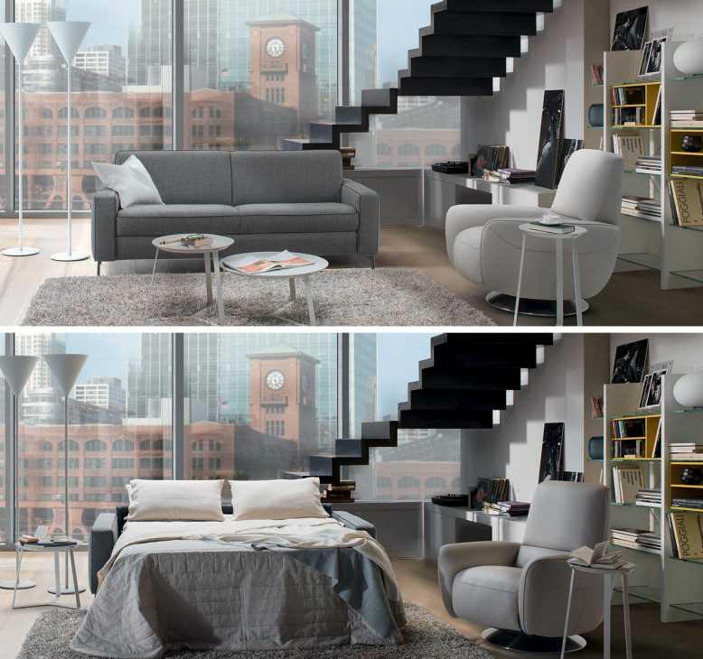 Arredamento soggiorno: un divano che all'occorrenza si trasforma in letto, byo Natuzzi
