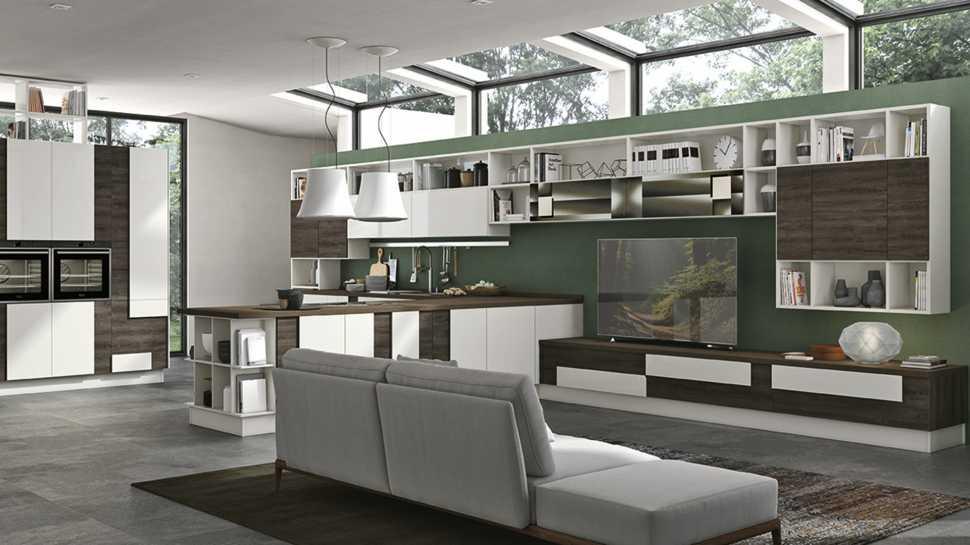 Arredare il soggiorno open: cucina Creativa di Lube