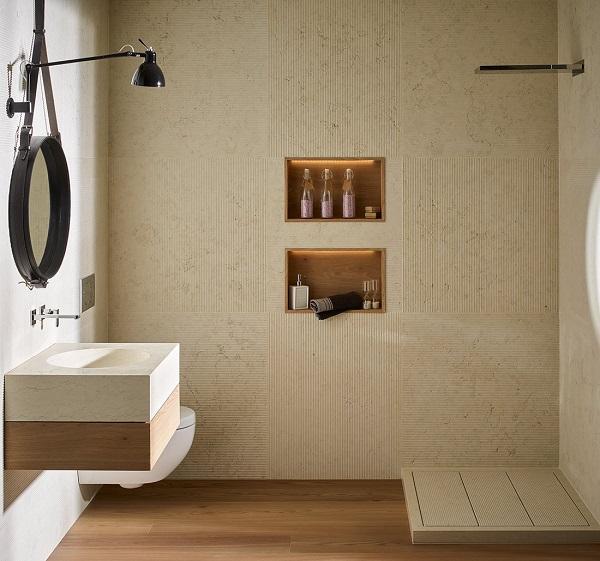 Lavabo in pietra e legno per il bagno, Lases di Zaninelli