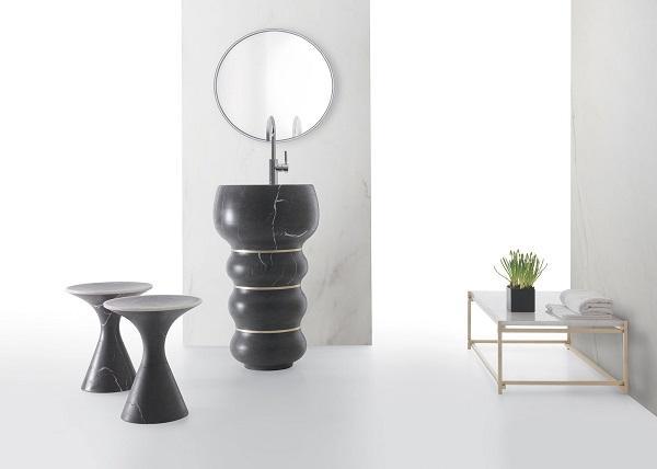 Lavabo in pietra Bubbles by Kreoo, design Marco Piva