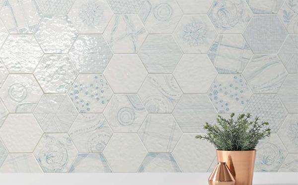 Piastrelle esagonali patchwork Melograno di Ornamenta