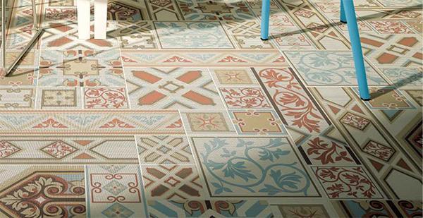 Pavimento patchwork con piastrelle Classic di Ornamenta ispirate alle cementine