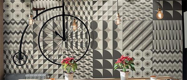 Effetti grafici con le composizioni patchwork di piastrelle Gone di Ornamenta