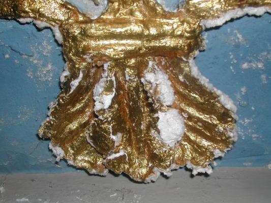 Danni da efflorescenze su uno stucco dorato, by Fomento Restauri
