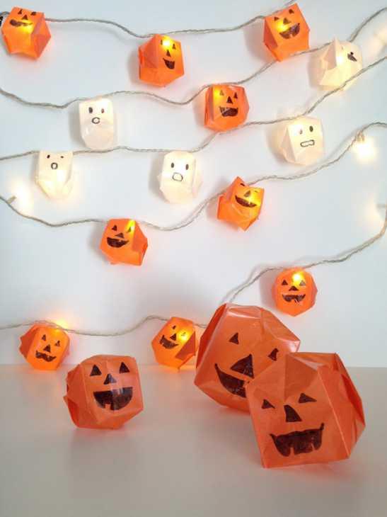Per Halloween: lanterne con zucche origami, da handmadecharlotte.com