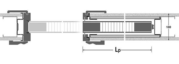 Sezione orizzontale di un controtelaio per porte interne a scomparsa di Athena Controtelai