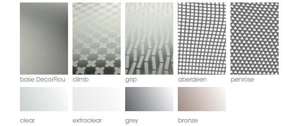 Pattern e colori dei vetri antiscivolo DecorFlou® di Omnidecor