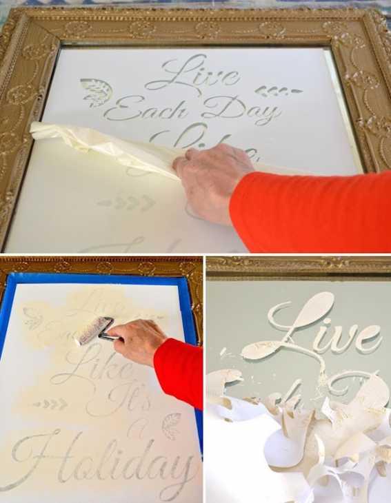 Stencil su specchio: scritta, da paintandpattern.com