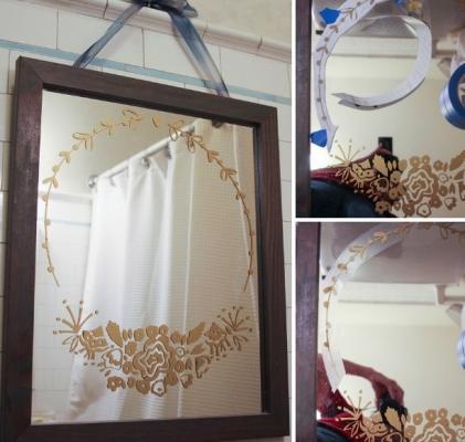Decorare lo specchio del bagno con lo stencil, da paintandpattern.com