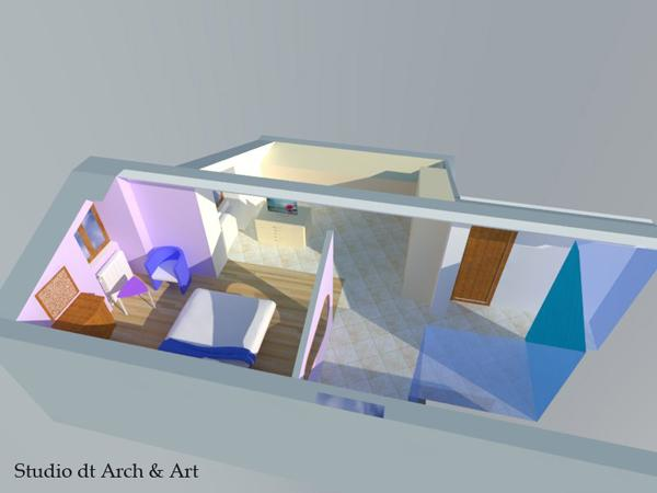 Progetto camera padronale con pavimento parquet in sovrapposizione