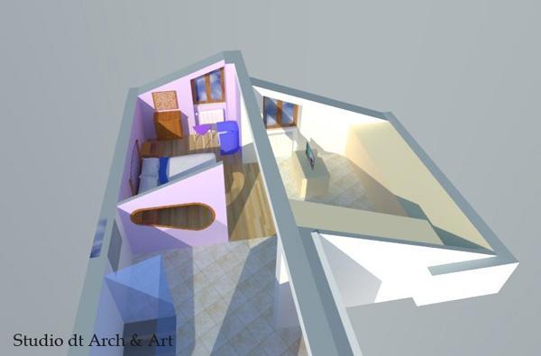 Progetto camera padronale con apertura curva sulla parete