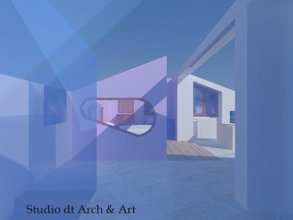 Progetto vetrata trasparente azzurrata per vano scala