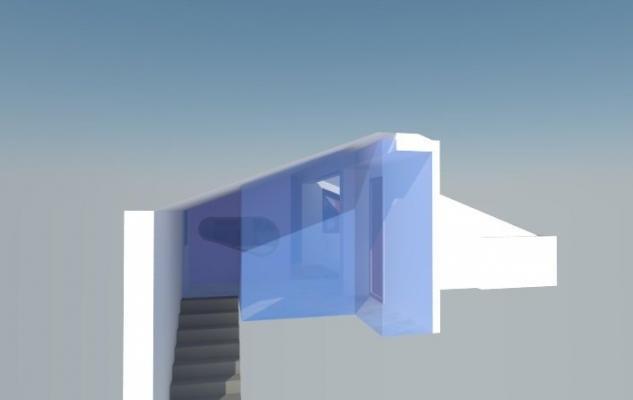 Mansarda vetrate trasparenti sul vano scala