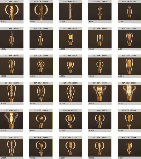 Luci a sospensione - lampadine a filamenti di carbonio