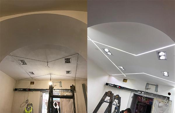 Controsoffitto cartongesso led profili design Enkos srl