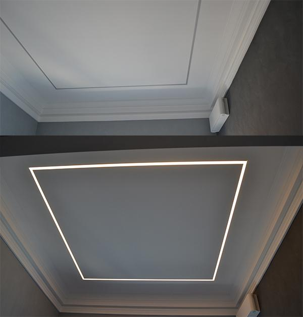 Controsoffitto in cartongesso led acceso spento Enkos srl