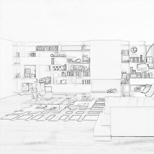 Libreria cartongesso ipotesi disegno