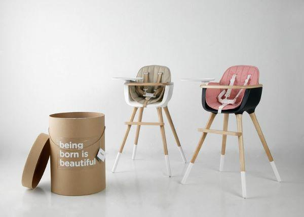 Sedie per bambini in legno e seggiolone di Kukako modello Ovo Micuna