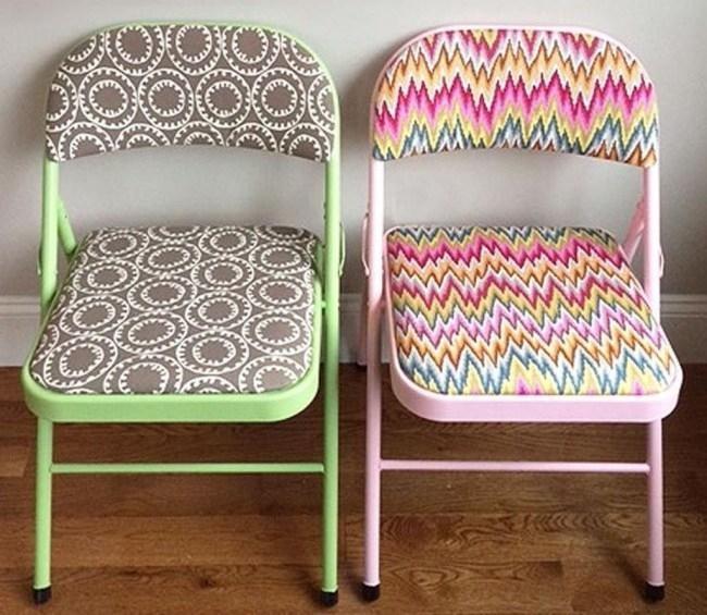 Stoffa colorata per rivestire le vecchie sedie, da diyandart.com